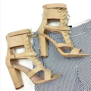 Olivia Ferguson Cream Lace-Up Cage Block Heels